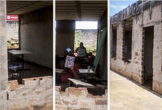 Estudiantes de la Escola Estadual Belarmino Essado asisten a clase en galpón (abril de 2014). Foto: Conexão GO